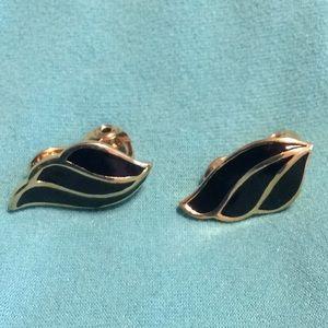 Monet black enamel gold clip on earrings